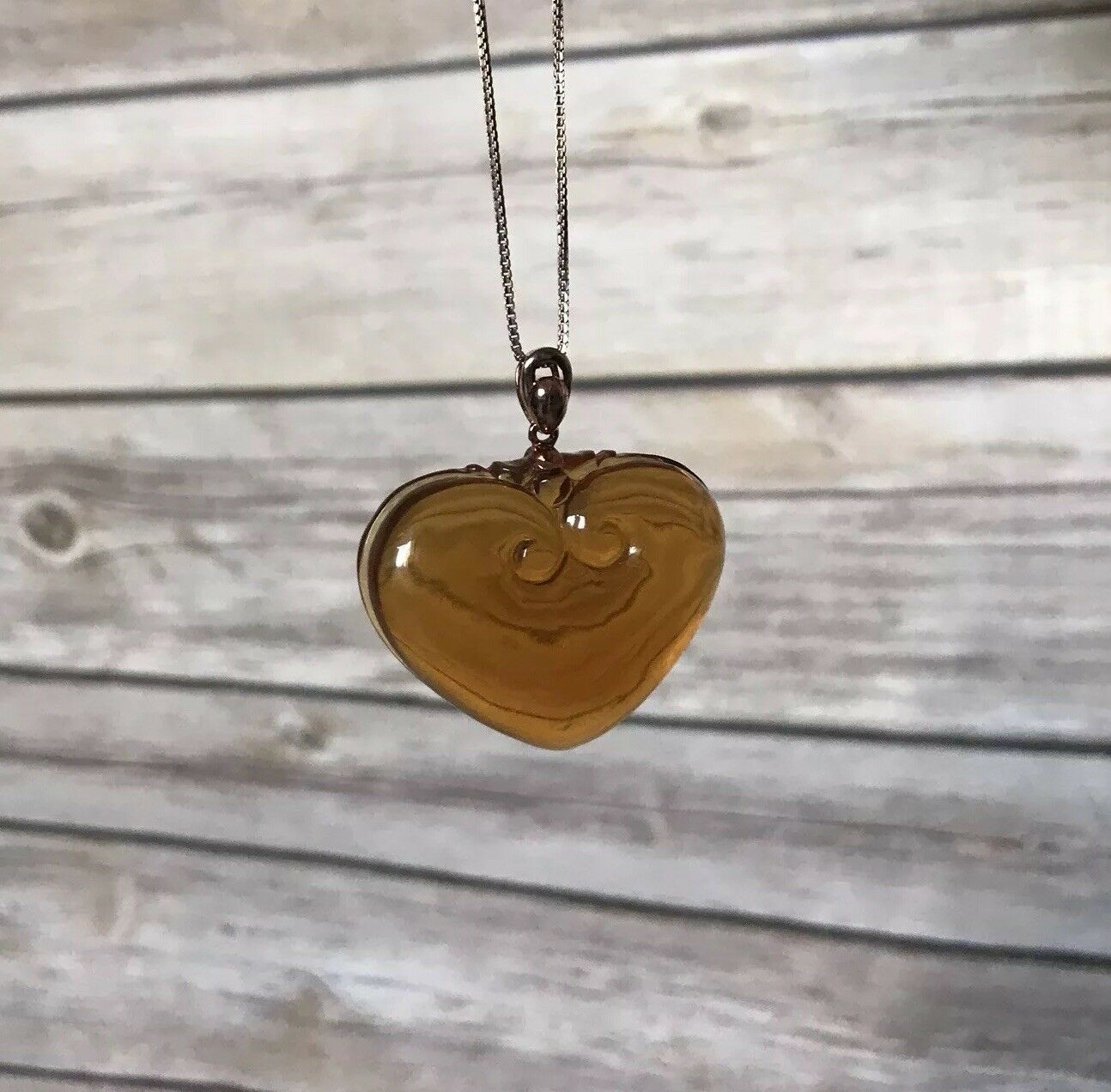 Brown Amber Pendant With 18K pink gold