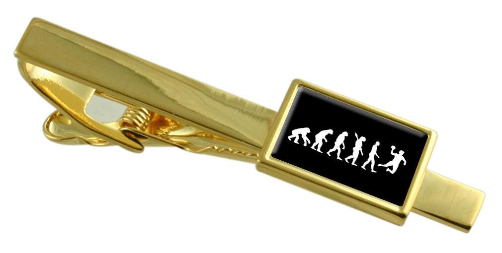 Evoluzione Scimmia a Man Handball Colore Colore Colore oro Fermacravatta Inciso Messaggio Box 819359
