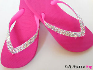 d763f1169 Image is loading Havaianas-flip-flops-PINK-with-450-500-Swarovski-