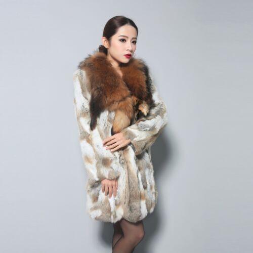 010112 Real Rabbit fur coat big fur collar overcoat jacket women outwear