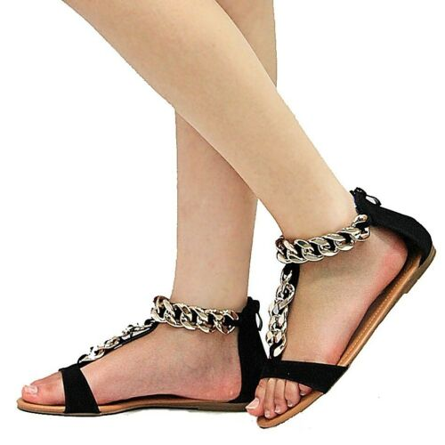 New Women Fna Black Gold Chain T-Strap Gladiator Flat Sandals 6 to 10