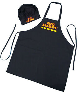 Details About Father S Day Gift Idea Black Apron And Chef Hat Set Big Daddy Is On The Grill