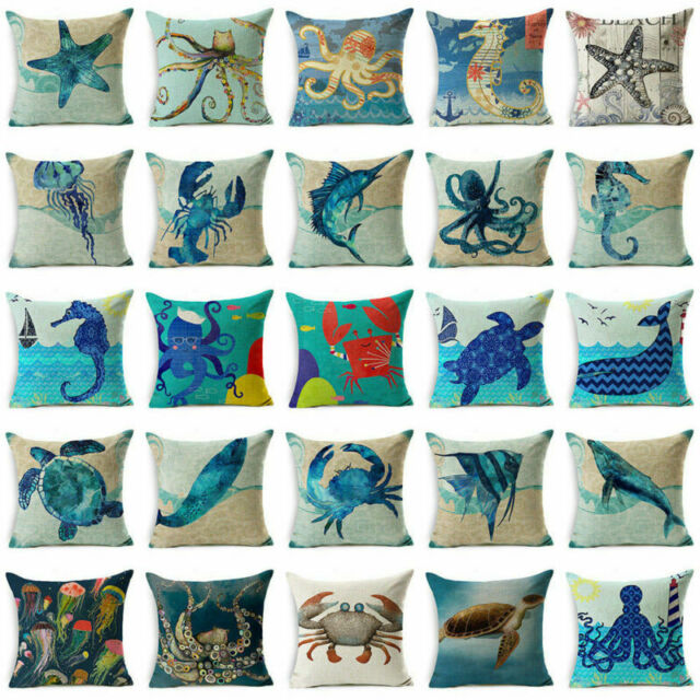 Magnificent 18 Blue Sea Animal Cotton Linen Sofa Cushion Cover Throw Pillow Case Home Decor Evergreenethics Interior Chair Design Evergreenethicsorg