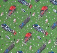 Golf Golfing Equipment Bags Balls Clubs Cloves On Green Cotton Quilting Fabric