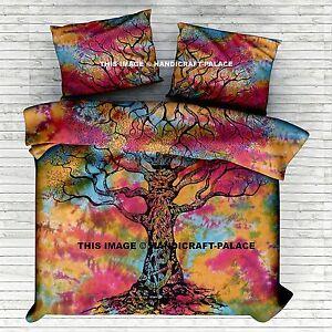 Tie Dye Indian Tree Of Life Double Queen Bed Set Quilt