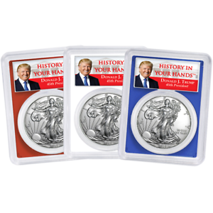 Set PCGS MS70 FDOI Trump Label Red White Blue 2019 $1 American Silver Eagle 3pc