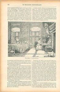 Bibliotheque-Salon-Salle-Manger-Chateau-du-Plessis-Mace-Anjou-GRAVURE-PRINT-1906