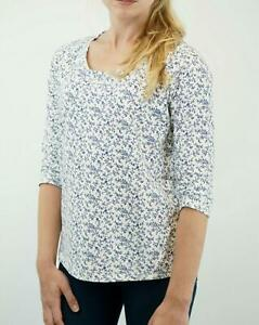 New-Fat-Face-White-amp-Blue-Floral-Cotton-Jersey-Top-RRP-35-Now-16-Save-19