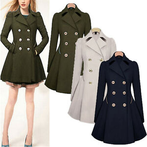 S-XXL Womens Lapel Wool Windbreaker Csaual Long Parka Coat ...