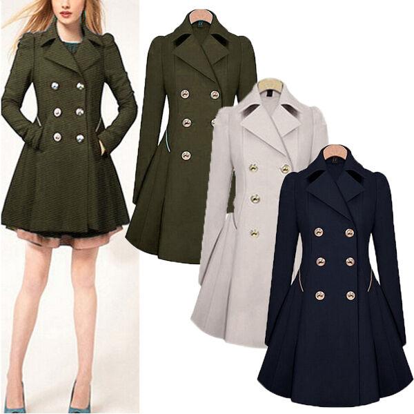 S-XXL Womens Lapel Wool Windbreaker Csaual Long Parka Coat Trench Outwear Jacket