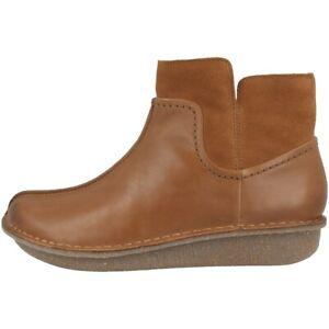 Details zu Clarks Funny Mid Schuhe Damen Leder Boots Stiefeletten dark tan combi 26144668