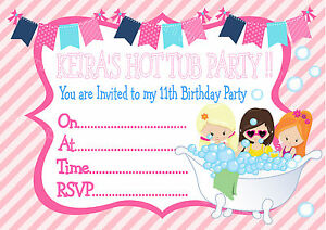 Image Is Loading Personalised Girls Hot Tub Jacuzzi Pool Party Birthday
