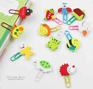 12 X Cute Wooden Cartoon Animal Clips Paperclips Staionery Bookmark