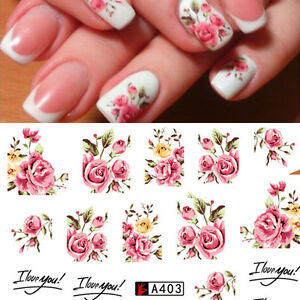 Nail-Art-Water-Decals-Stickers-Transfers-Rink-Roses-Flowers-Gel-Polish-A403