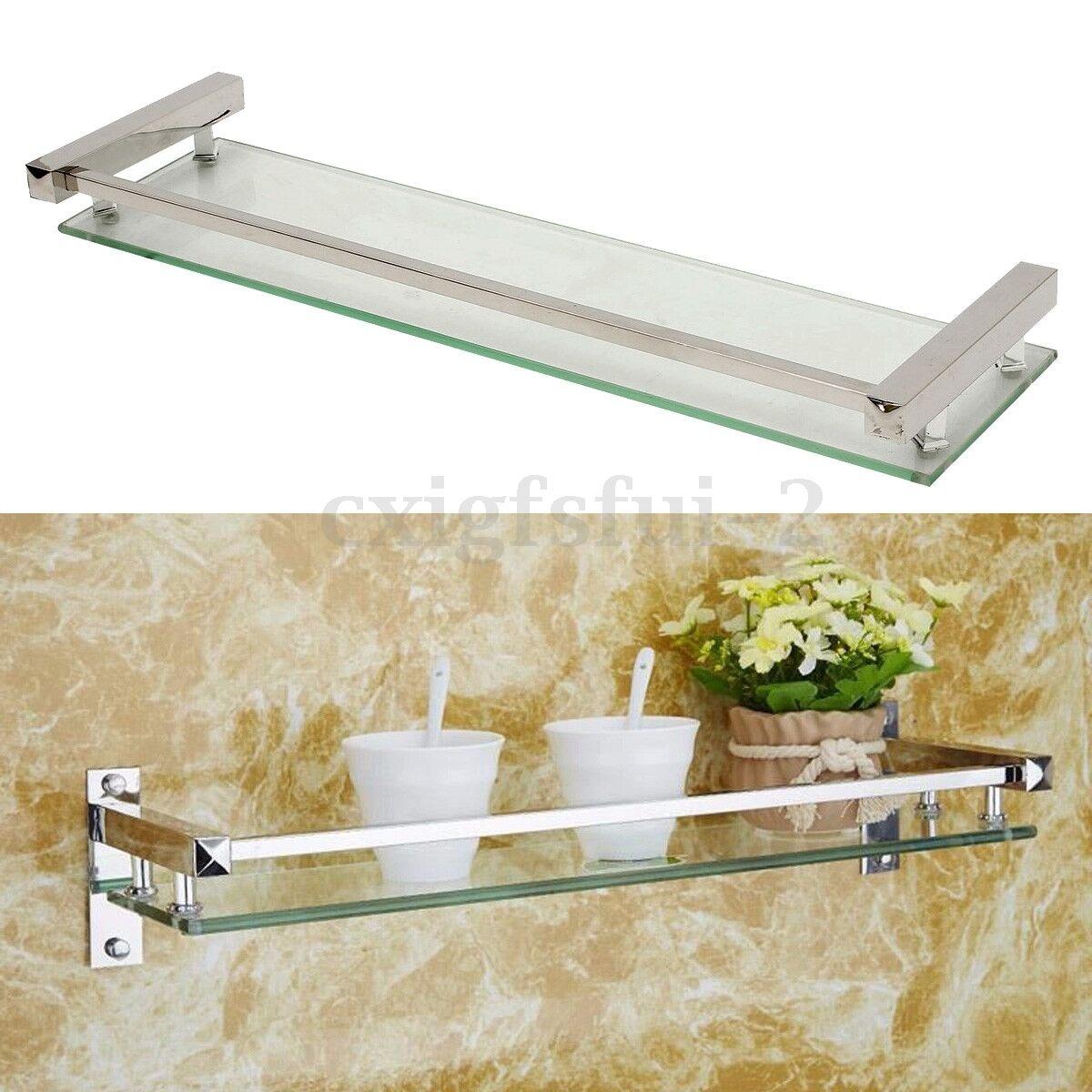 Bathroom Bath Glass Shower Caddy Shelf Rack Holder Organizer Wall Mount