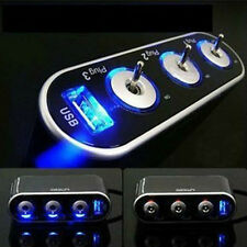 Triple 3 Way Car Cigarette Lighter Socket Splitter 12V/24V +LED Light Switch US