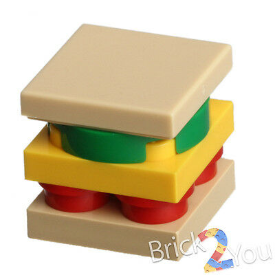 NEW 3x LEGO Minifigure Food Sandwiches