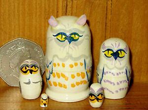 Nesting-Russian-Dolls-Matryoshka-tiny-WHITE-SNOWY-OWL-BIRDS-5-Miniature-House