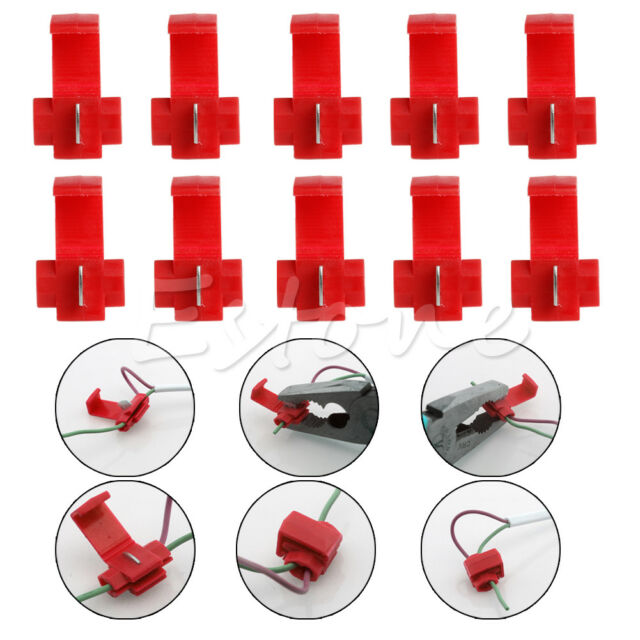 10x Quick Splice Lock Wire Terminals Crimp Electrical Cable Connectors Red New