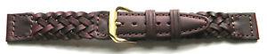16mm-KREISLER-BROWN-BRAID-GENUINE-LEATHER-WATCH-BAND-STRAP