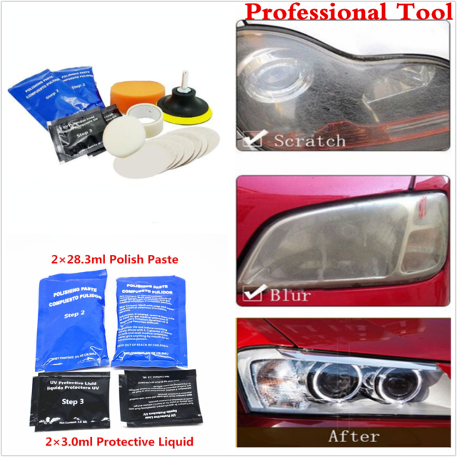 14pcs Car Headlight Cleaner Restorer Headlight Lens Restoration