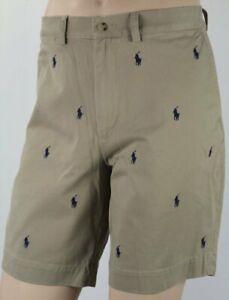Polo-Ralph-Lauren-Khaki-Tan-Classic-Fit-9-034-Chino-Shorts-Multi-Pony-NWT