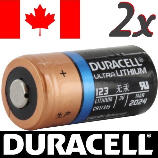 2 Pcs CR123A Lithium Battery Duracell DL123 Power Photo Batteries.Exp:2027