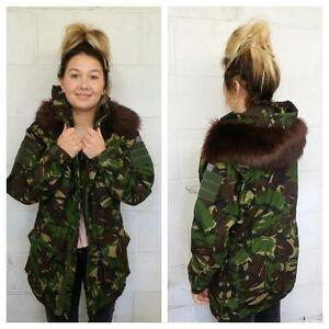 Hood Jacket Camouflage Fashion Winter Vintage le donna taglie Fur da Tutte wZwUqt