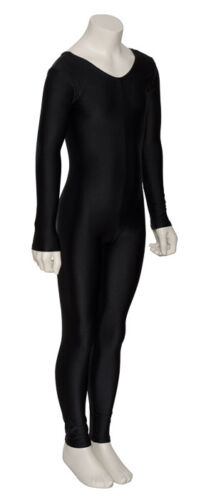 Black Halloween Witch Cat Woman Long Sleeve Catsuit Unitard All Sizes KDC017