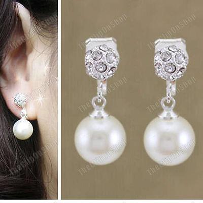 CLIP ON non-pierced PEARL CRYSTAL silver rhinestone EARRINGS 1.2cm SMALL ROUND