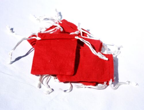 3x4 INCH SMALL RED FLANNEL BAG Wiccan Gris Gris Mojo Treasure Bag 12 24 144 LOT