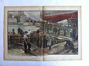 LITHOGRAPHIE EXPOSITION DE PARIS 1900 Chantiers du PONT ALEXANDRE III mai 1899