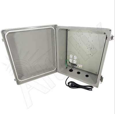 Altelix 14x12x8 Outdoor Fiberglass Vented FAN COOLED NEMA Enclosure 120V Outlets