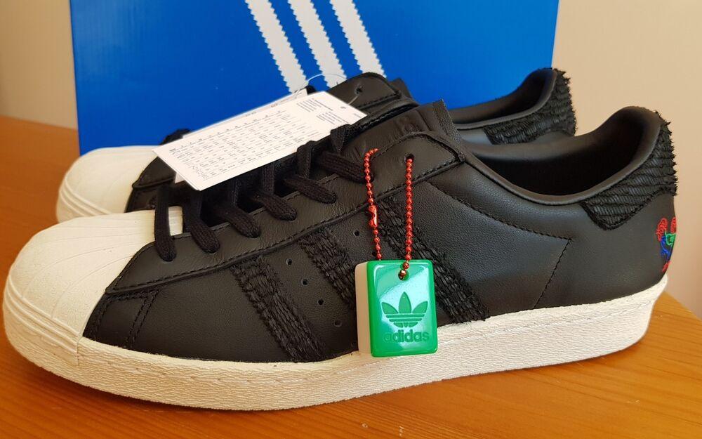 Adidas Superstar 80 S CNY Noir/Blanc Craie, taille UK 8 EUR (42) BNWT Entièrement neuf dans sa boîte-