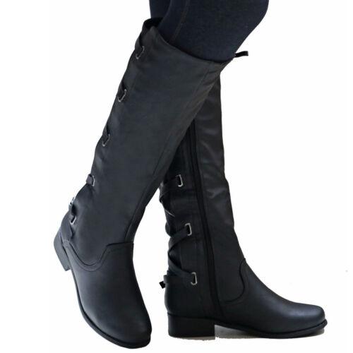 Damen Winter Overknee Stiefeletten Stiefel Kniestiefel Lang Boots Flache Schuhe
