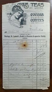 1912-Hastings-St-Leonard-039-s-amp-Bexhill-Co-Operative-Society-Invoice-CWS-Teas