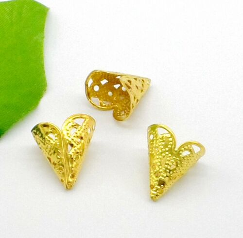 Free Ship 100Pcs Gold Plated Flower Beads Caps For Jewelry Making 16x11mm