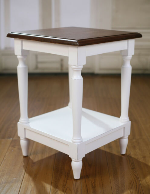 Lamp Table Hardwood French Provincial Side Table Antique White Timber Top  New
