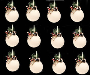 6 x CHEAP White Flocked Christmas Tree Bauble Decorations ...