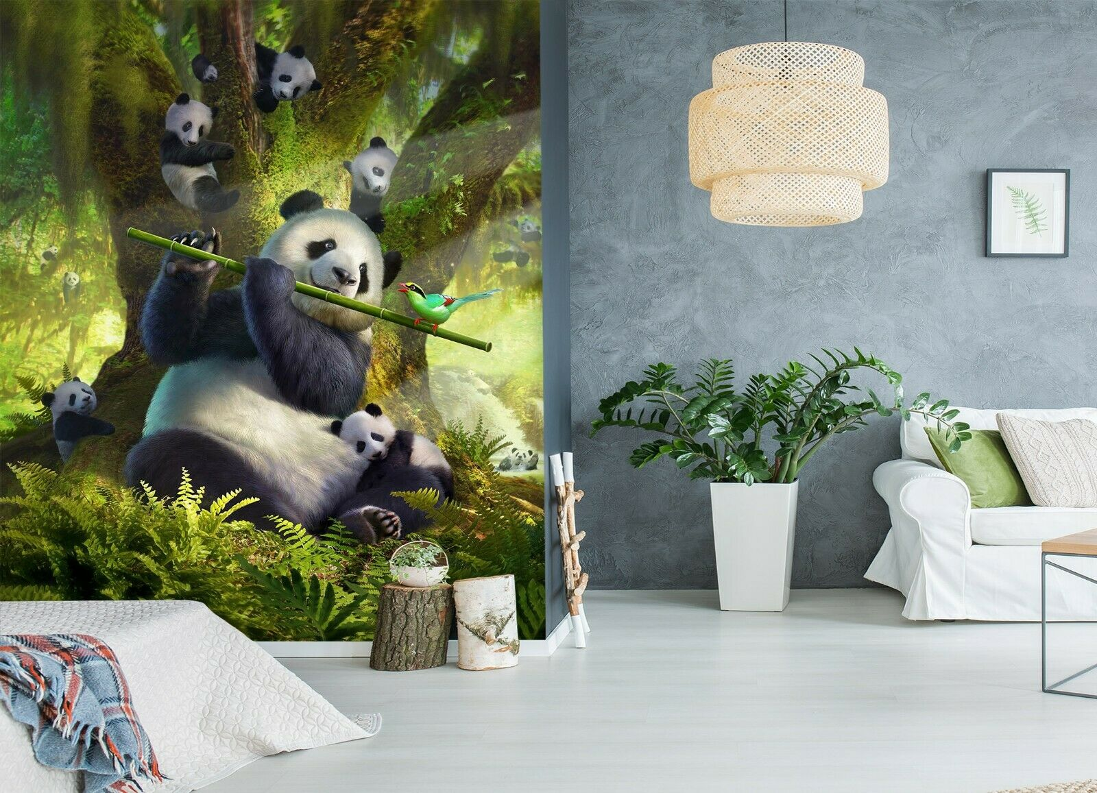 3D Forest Giant Pand N62 Wallpaper Wall Mural Self-adhesive Jerry LoFaro Angelia