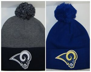 Los Angeles Rams Pom Pom Beanie ~Knit Hat ~Classic NFL Patch Logo ... 7fbed41e1e0