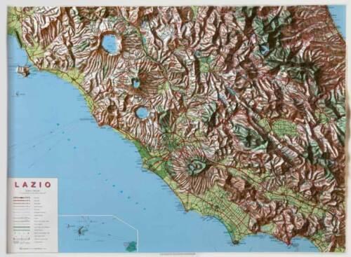 Cartina Politica Lazio.Lazio Carta Regionale In Rilievo 3d 90x67 Cm Senza Cornice Global Map Ebay