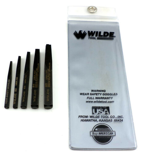 Wilde Tool 5pc Screw /& Bolt Extractor Set MADE IN USA Premium Quality Easy wCase