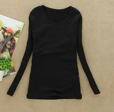 Fashion Womens Casual Round Collar T-Shirt Loose Cotton Long Sleeve Tops Blouse