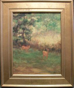 DEER-in-Forest-Oklahoma-Wildlife-oil-painting-by-Margaret-Aycock-original