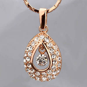 New-Antique-Style-18K-Rose-Gold-GF-Drop-Pendant-Necklace-Use-SWAROVSKI-Crystal