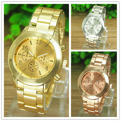 Geneva Fashion Women Ladies Girl Stainless Steel Band Analog Quartz Wrist Watch