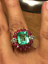 5Ct-Green-Emerald-Diamond-amp-Ruby-Cluster-Cocktail-Ring-in-14K-Yellow-Gold-Over thumbnail 5