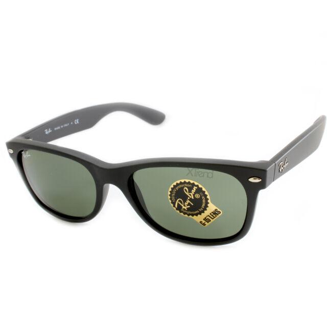 Ray Ban RB2132 622 New Wayfarer Sunglasses Black Rubber/Green G-15 Sizes 52 & 55