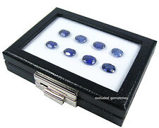 GLASS TOP JEWELRY GEM DISPLAY BOX SHOW CASE SILVER CHROME SLIDE LOCKER 8X10CM